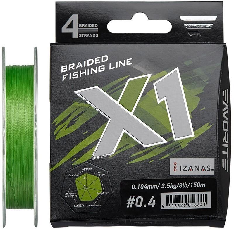 Шнур Favorite X1 PE 4x 150m (l.green) #0.4/0.104mm 8lb/3.5kg