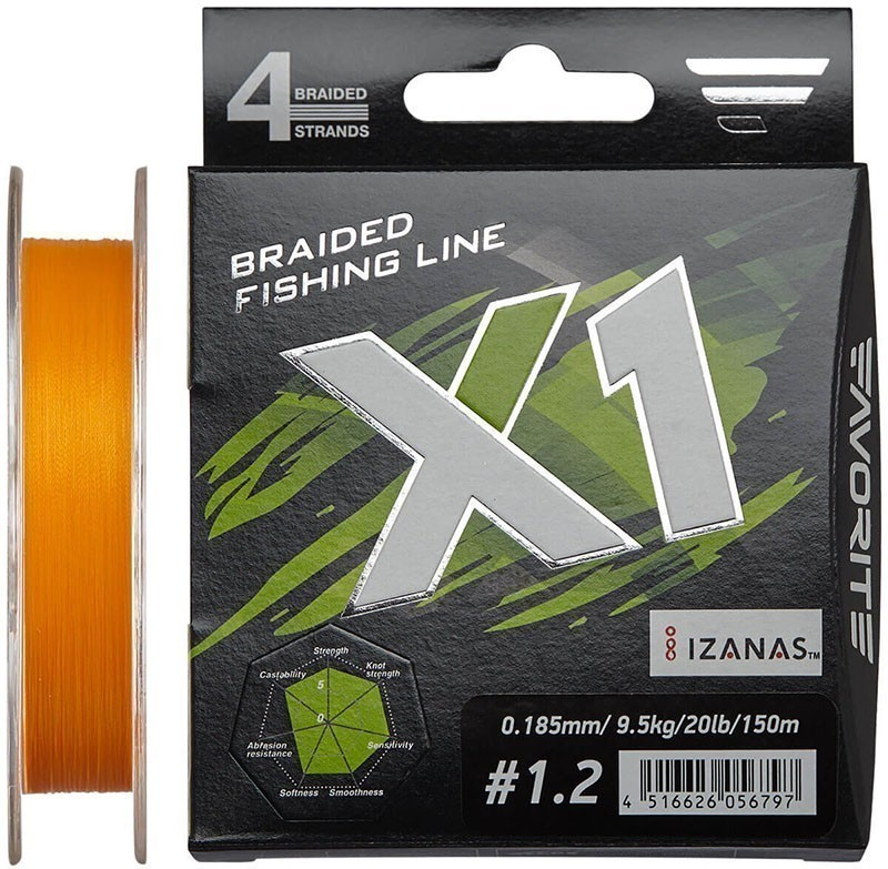Шнур Favorite X1 PE 4x 150m (orange) #1.2/0.185mm 20lb/9.5kg
