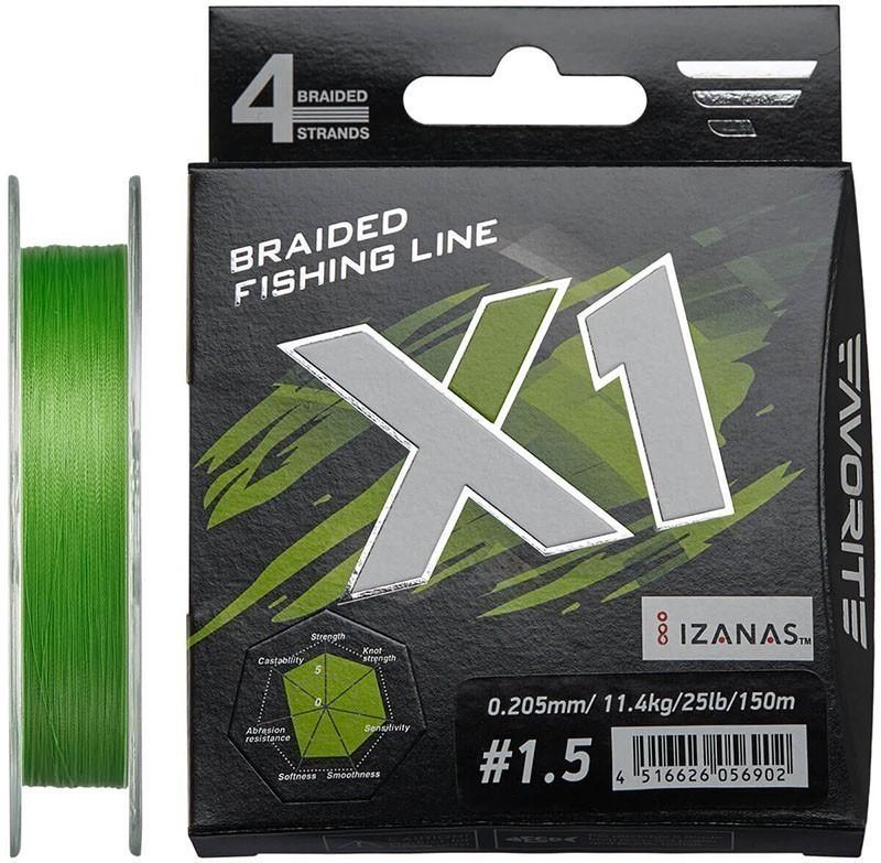 Шнур Favorite X1 PE 4x 150m (l.green) #1.5/0.205mm 25lb/11.4kg